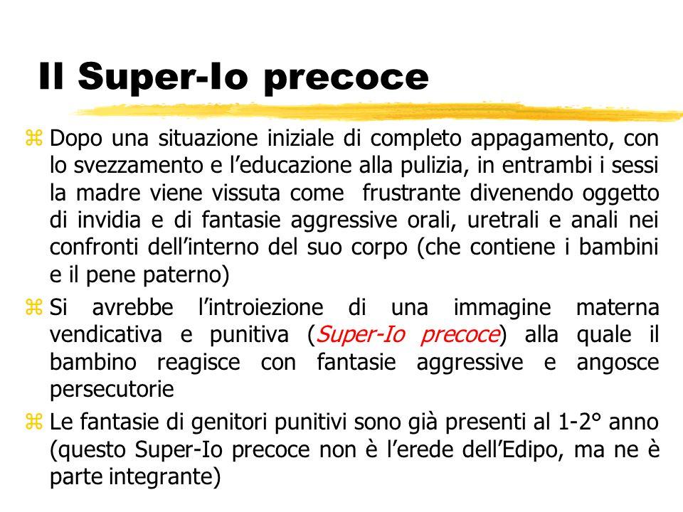 Il Super-Io precoce zDopo una situazione iniziale di completo appagamento, con lo svezzamento e leducazione alla pulizia, in entrambi i sessi la madre