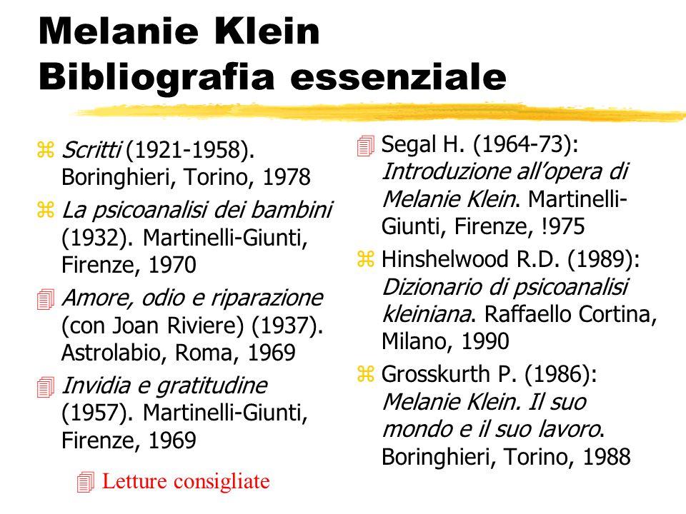 Melanie Klein Bibliografia essenziale zScritti (1921-1958). Boringhieri, Torino, 1978 zLa psicoanalisi dei bambini (1932). Martinelli-Giunti, Firenze,