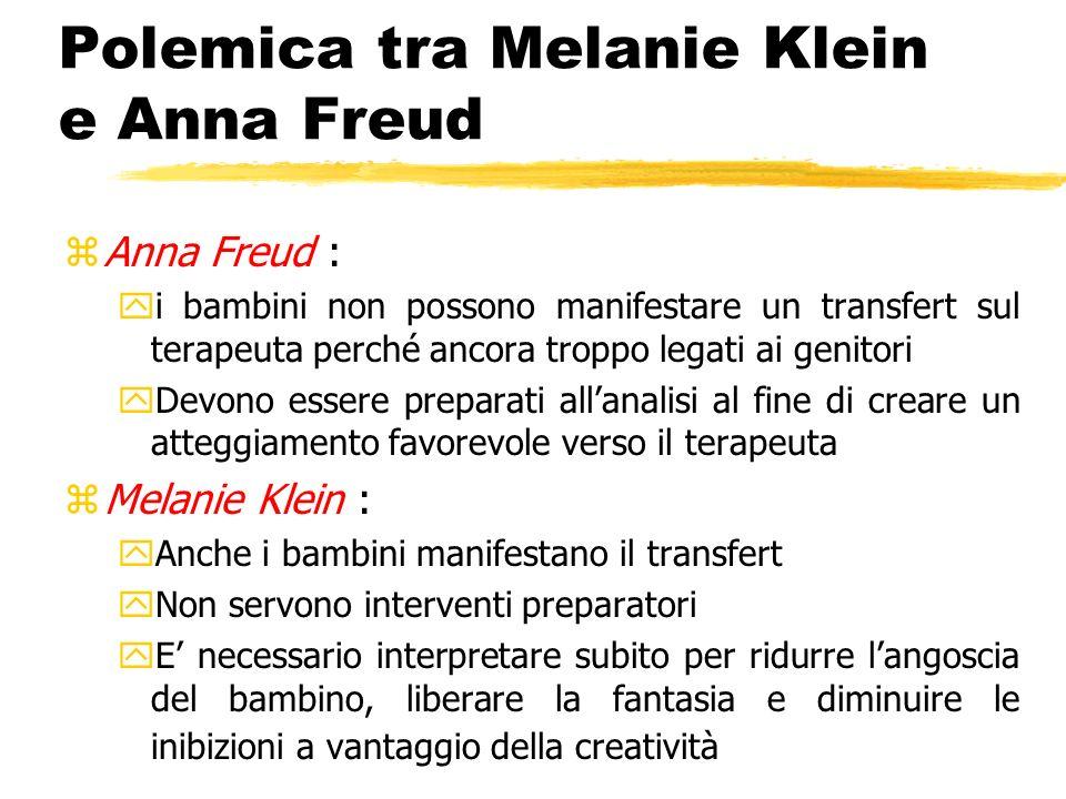 Polemica tra Melanie Klein e Anna Freud zAnna Freud : yi bambini non possono manifestare un transfert sul terapeuta perché ancora troppo legati ai gen