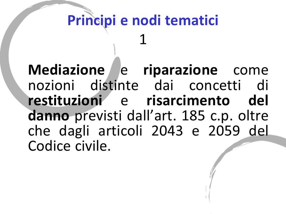 Principi e nodi tematici 1 Mediazione e riparazione come nozioni distinte dai concetti di restituzioni e risarcimento del danno previsti dallart.