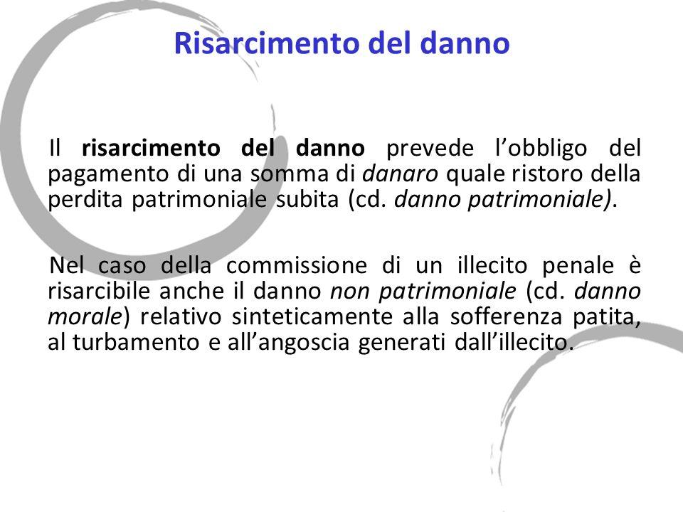 Risarcimento del danno Il risarcimento del danno prevede lobbligo del pagamento di una somma di danaro quale ristoro della perdita patrimoniale subita (cd.