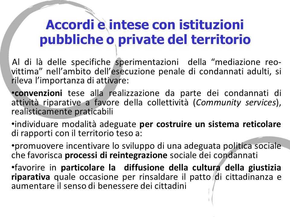 Accordi e intese con istituzioni pubbliche o private del territorio Al di là delle specifiche sperimentazioni della mediazione reo- vittima nellambito