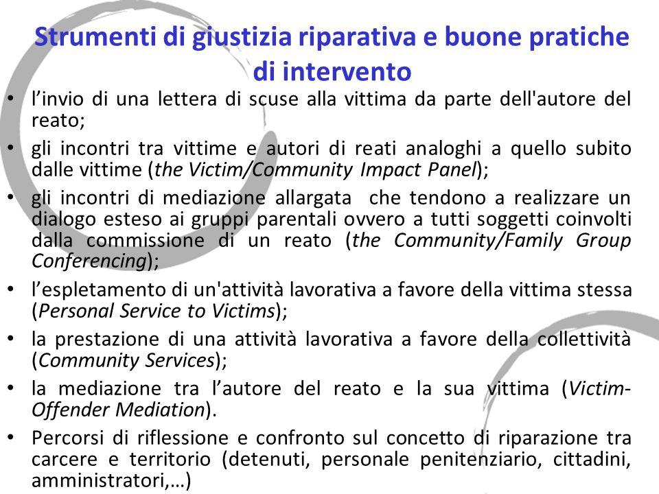 Strumenti di giustizia riparativa e buone pratiche di intervento linvio di una lettera di scuse alla vittima da parte dell'autore del reato; gli incon