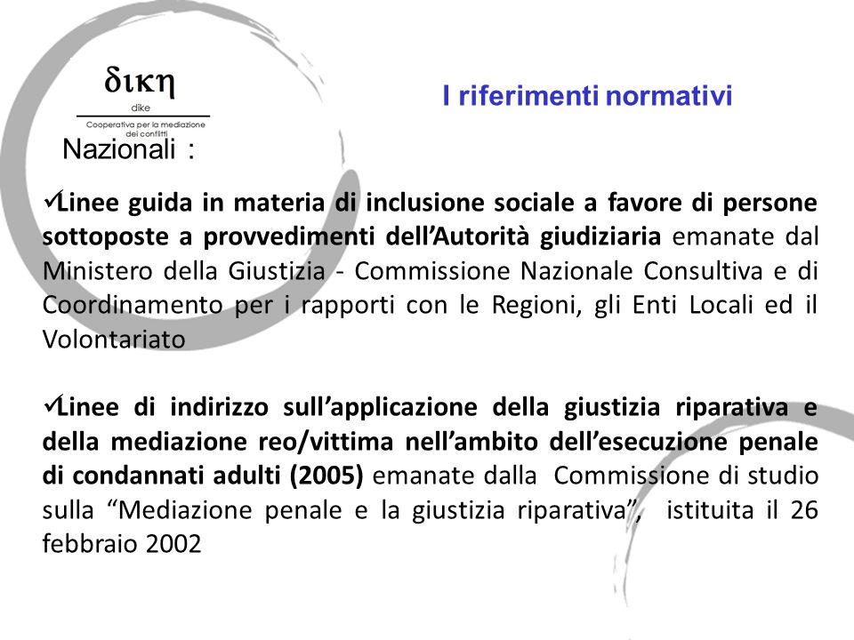 Nazionali : I riferimenti normativi Linee guida in materia di inclusione sociale a favore di persone sottoposte a provvedimenti dellAutorità giudiziar