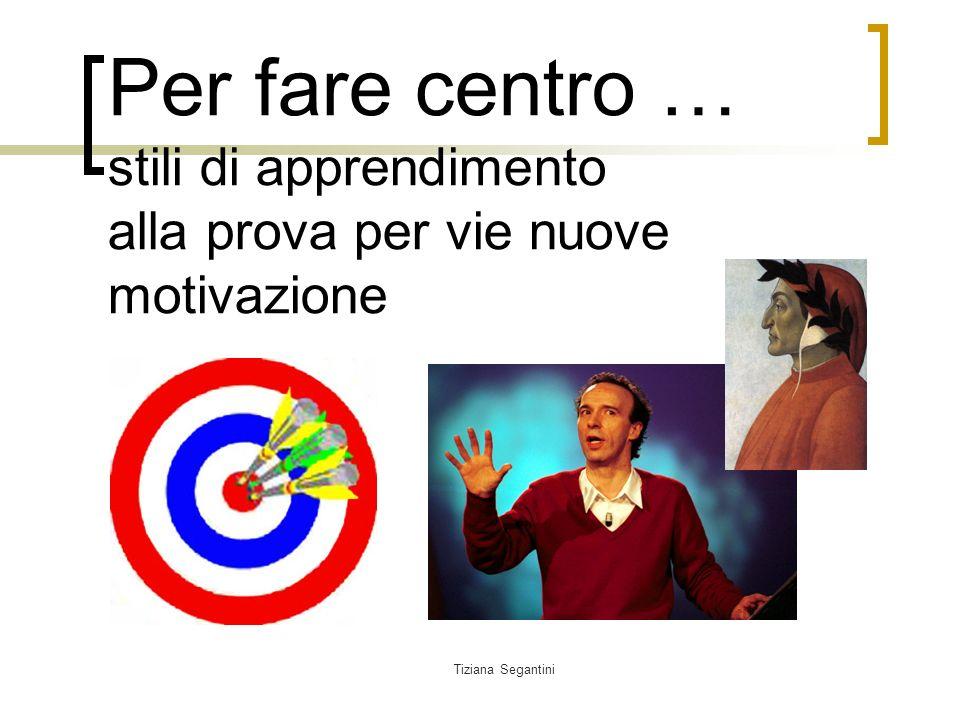 Tiziana Segantini Per fare centro … stili di apprendimento alla prova per vie nuove motivazione