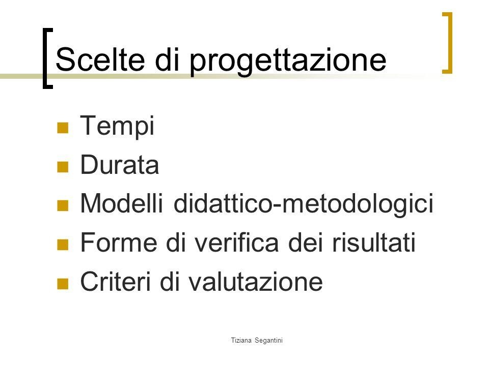 Tiziana Segantini Scelte di progettazione Tempi Durata Modelli didattico-metodologici Forme di verifica dei risultati Criteri di valutazione