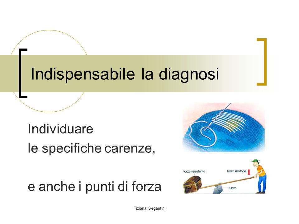 Tiziana Segantini Indispensabile la diagnosi Individuare le specifiche carenze, e anche i punti di forza