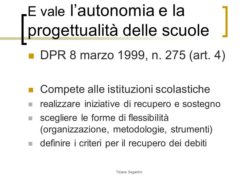 Tiziana Segantini E vale lautonomia e la progettualità delle scuole DPR 8 marzo 1999, n.