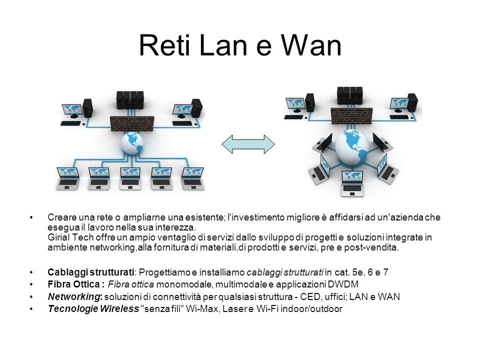 Reti Lan e Wan Creare una rete o ampliarne una esistente; l'investimento migliore è affidarsi ad un'azienda che esegua il lavoro nella sua interezza.