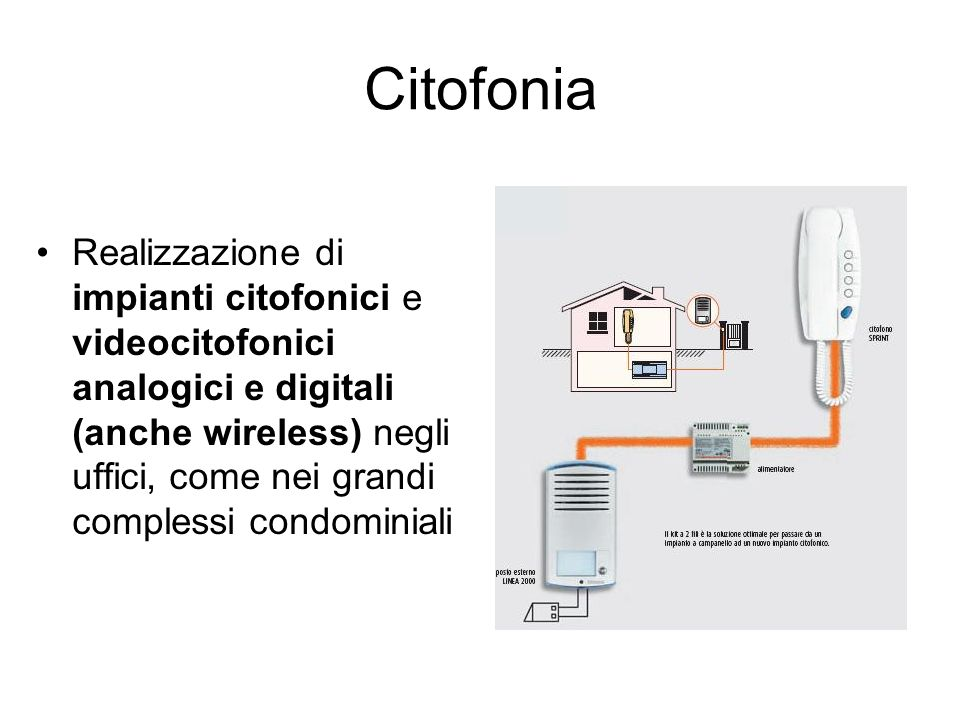 Citofonia Realizzazione di impianti citofonici e videocitofonici analogici e digitali (anche wireless) negli uffici, come nei grandi complessi condomi
