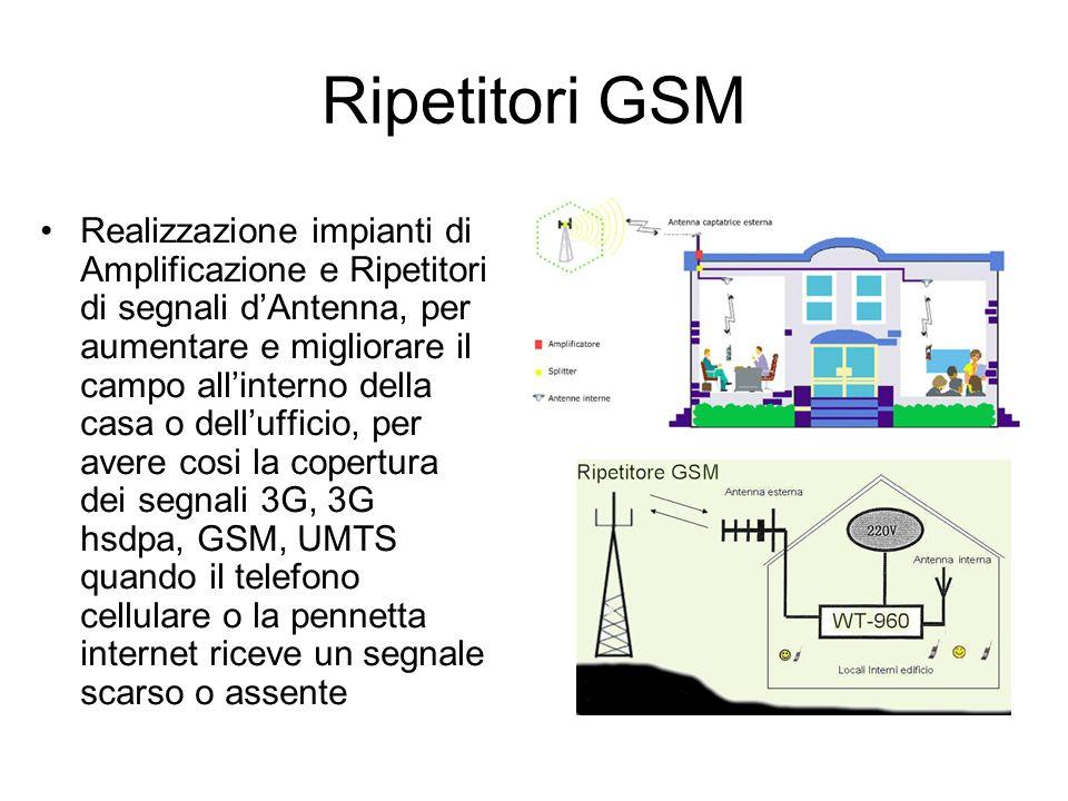 Ripetitori GSM Realizzazione impianti di Amplificazione e Ripetitori di segnali dAntenna, per aumentare e migliorare il campo allinterno della casa o