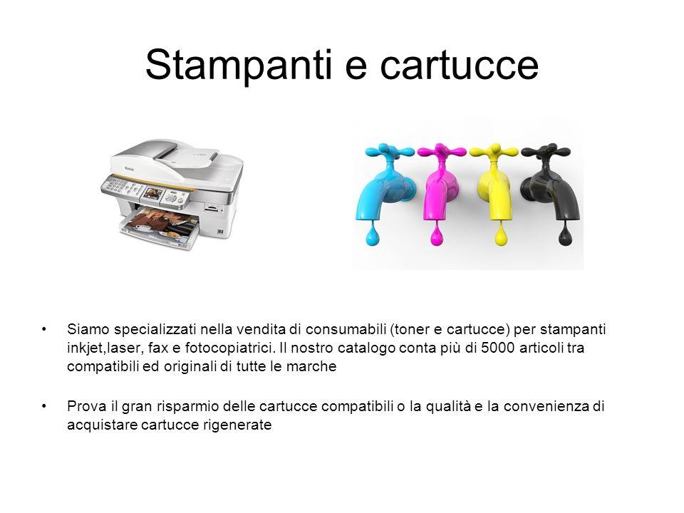 Stampanti e cartucce Siamo specializzati nella vendita di consumabili (toner e cartucce) per stampanti inkjet,laser, fax e fotocopiatrici. Il nostro c