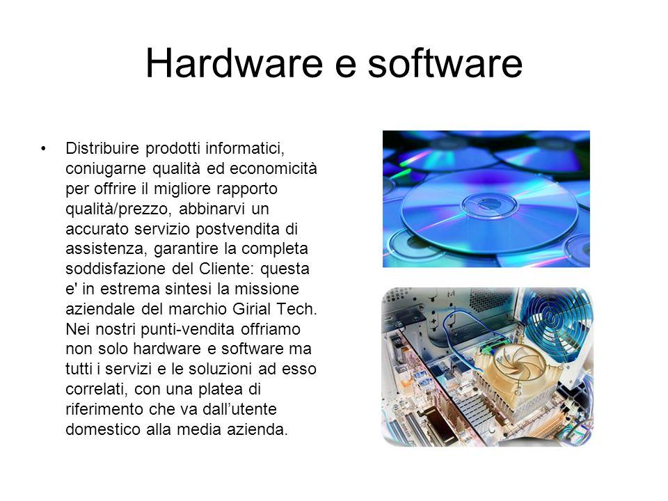 Hardware e software Distribuire prodotti informatici, coniugarne qualità ed economicità per offrire il migliore rapporto qualità/prezzo, abbinarvi un