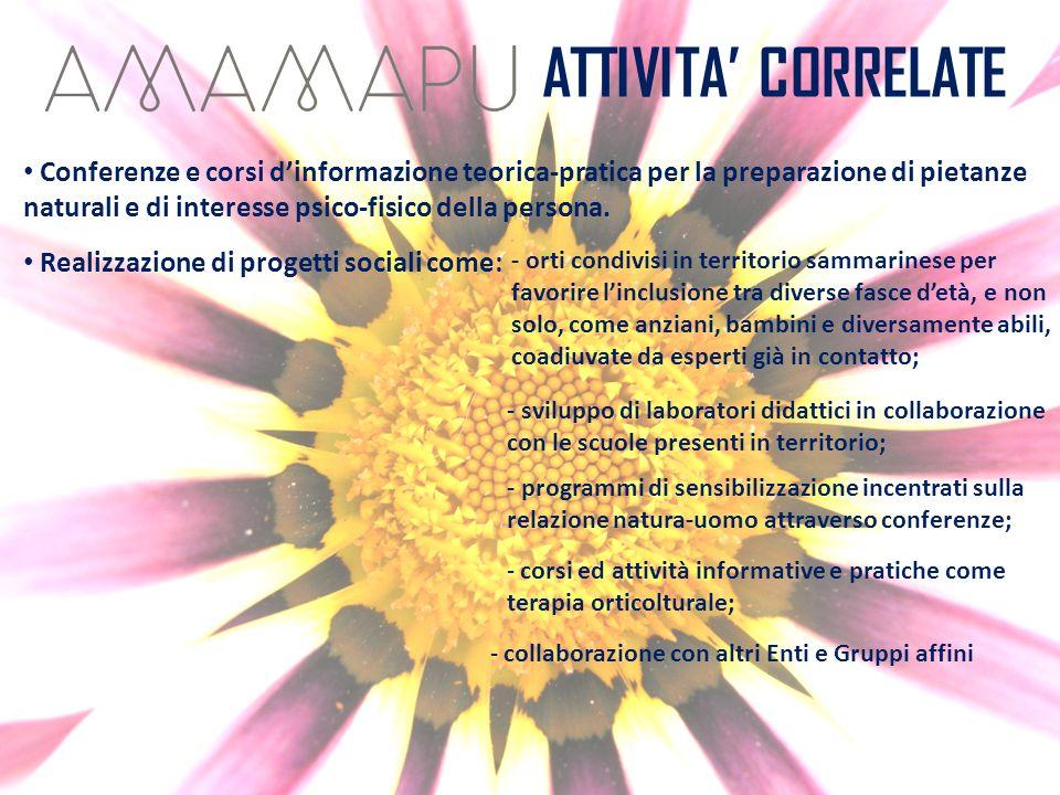 ATTIVITA CORRELATE Conferenze e corsi dinformazione teorica-pratica per la preparazione di pietanze naturali e di interesse psico-fisico della persona