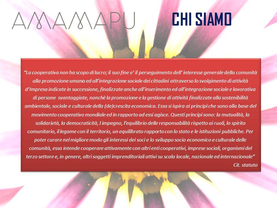 CHI SIAMO La cooperativa non ha scopo di lucro; il suo fine e' il perseguimento dell interesse generale della comunità alla promozione umana ed allint