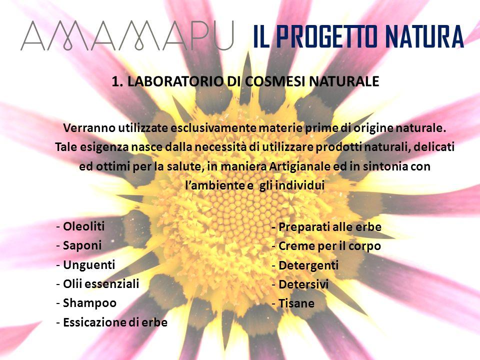 IL PROGETTO NATURA 1. LABORATORIO DI COSMESI NATURALE Verranno utilizzate esclusivamente materie prime di origine naturale. Tale esigenza nasce dalla