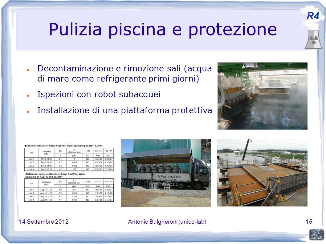 14 Settembre 2012Antonio Bulgheroni (unico-lab)15 Pulizia piscina e protezione Decontaminazione e rimozione sali (acqua di mare come refrigerante primi giorni) Ispezioni con robot subacquei Installazione di una piattaforma protettiva