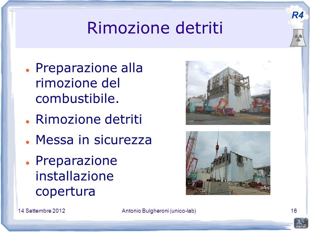 14 Settembre 2012Antonio Bulgheroni (unico-lab)16 Rimozione detriti Preparazione alla rimozione del combustibile.