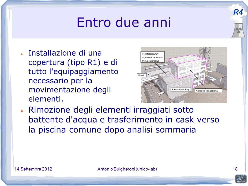 14 Settembre 2012Antonio Bulgheroni (unico-lab)18 Entro due anni Installazione di una copertura (tipo R1) e di tutto l equipaggiamento necessario per la movimentazione degli elementi.