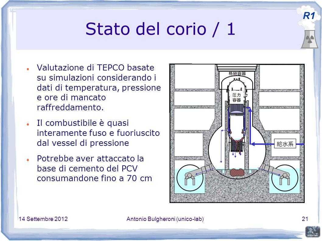 14 Settembre 2012Antonio Bulgheroni (unico-lab)21 Stato del corio / 1 Valutazione di TEPCO basate su simulazioni considerando i dati di temperatura, pressione e ore di mancato raffreddamento.
