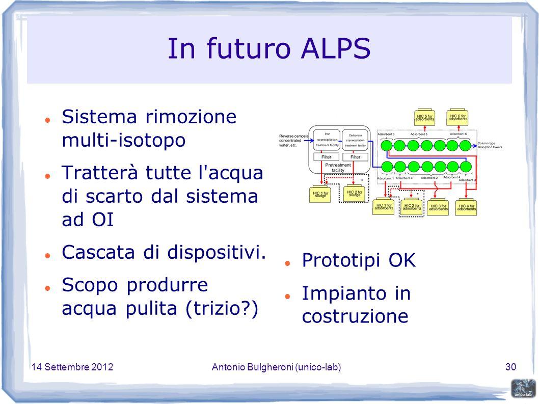 14 Settembre 2012Antonio Bulgheroni (unico-lab)30 In futuro ALPS Sistema rimozione multi-isotopo Tratterà tutte l acqua di scarto dal sistema ad OI Cascata di dispositivi.