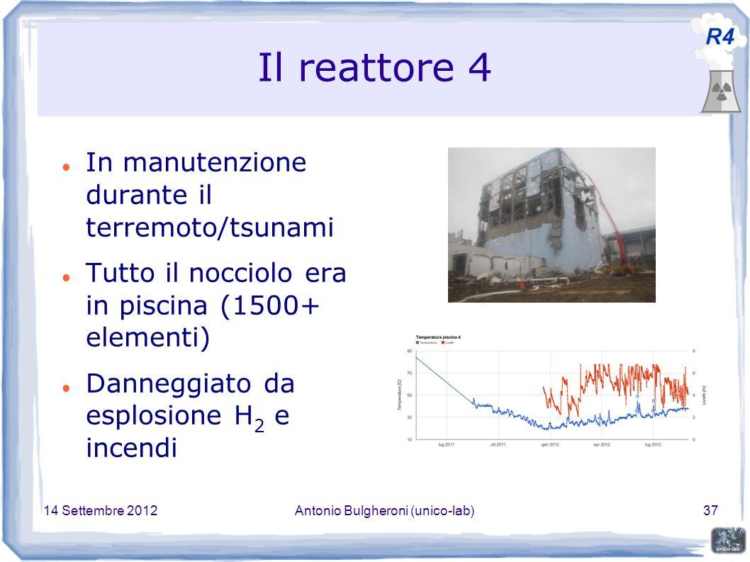 14 Settembre 2012Antonio Bulgheroni (unico-lab)37 Il reattore 4 In manutenzione durante il terremoto/tsunami Tutto il nocciolo era in piscina (1500+ elementi) Danneggiato da esplosione H 2 e incendi