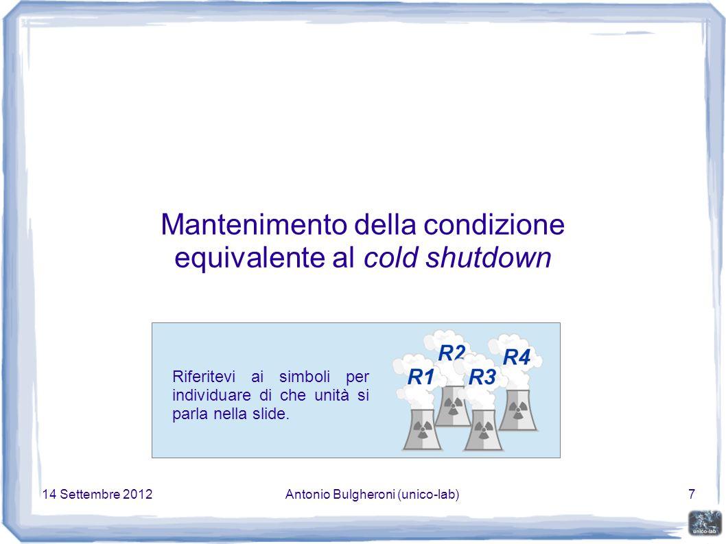 14 Settembre 2012Antonio Bulgheroni (unico-lab)38 Stabilità sismica dell edificio Punto fondamentale per la conservazione in sicurezza nei prossimi anni.