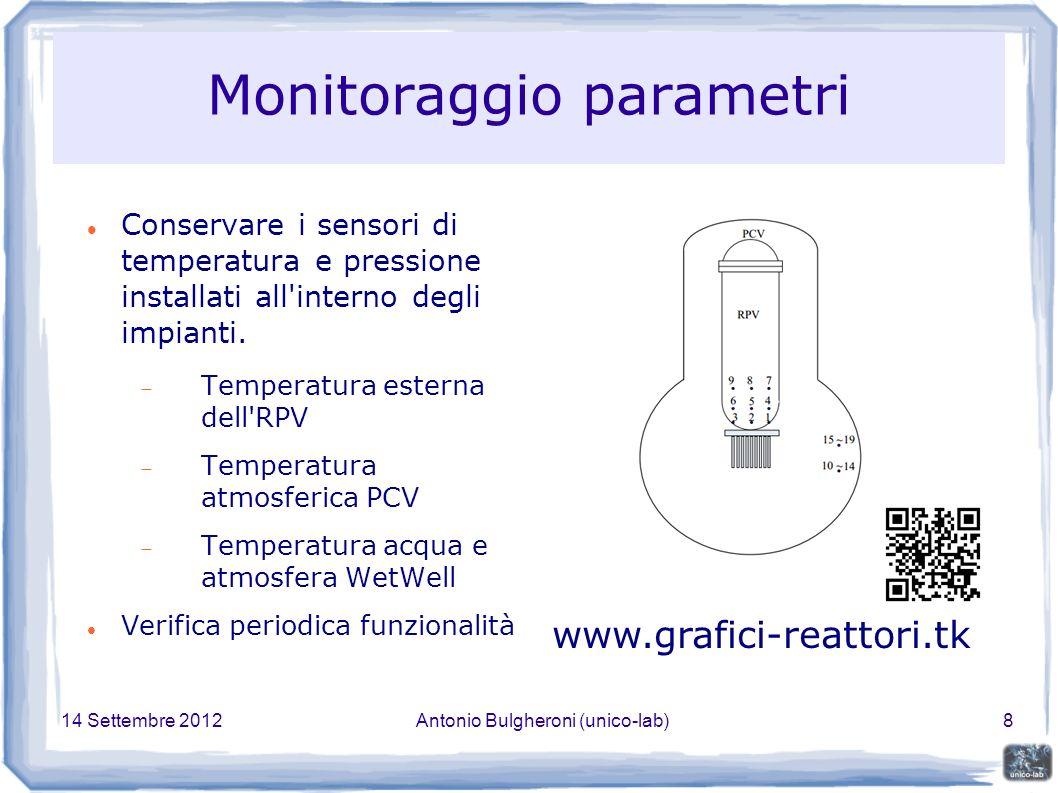 14 Settembre 2012Antonio Bulgheroni (unico-lab)8 Monitoraggio parametri Conservare i sensori di temperatura e pressione installati all interno degli impianti.