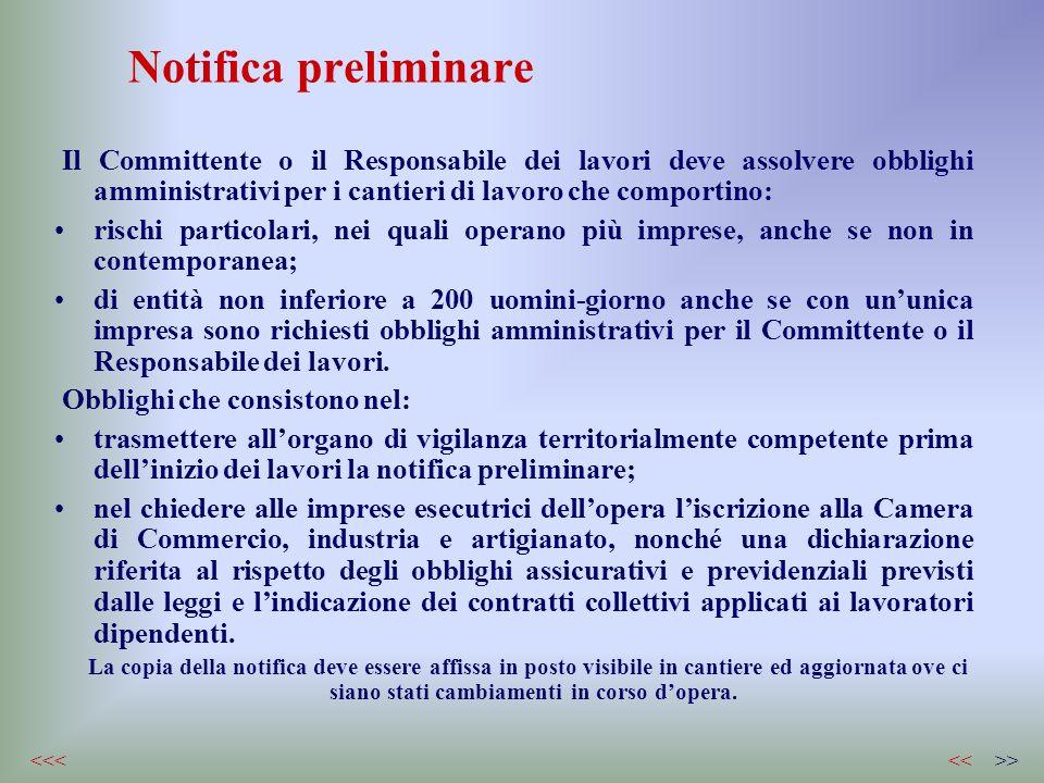 Notifica preliminare Il Committente o il Responsabile dei lavori deve assolvere obblighi amministrativi per i cantieri di lavoro che comportino: risch