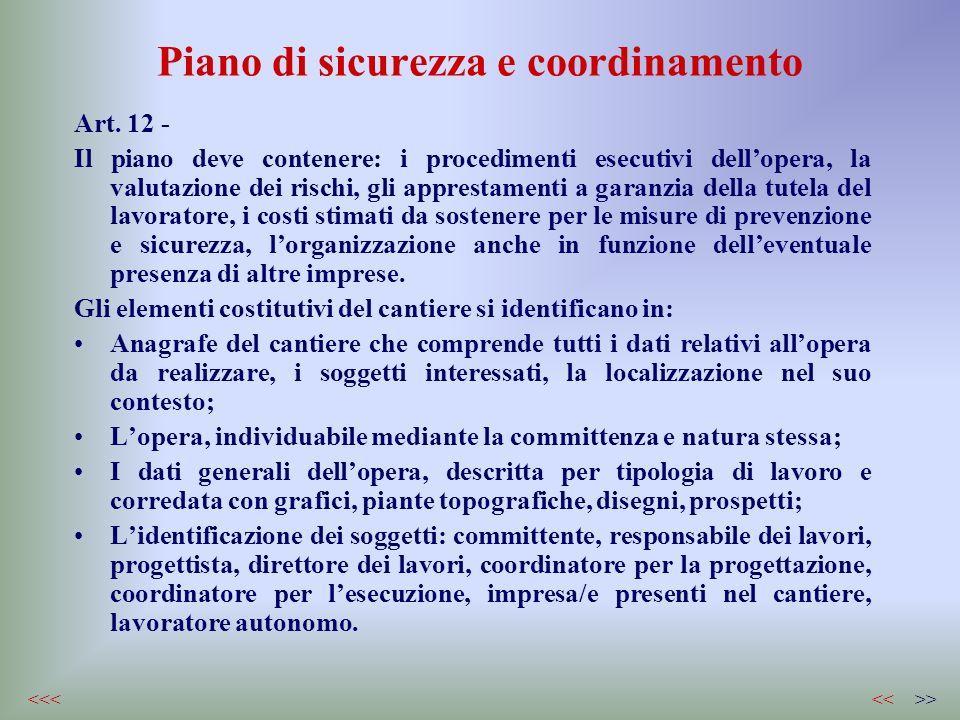 Piano di sicurezza e coordinamento Art. 12 - Il piano deve contenere: i procedimenti esecutivi dellopera, la valutazione dei rischi, gli apprestamenti