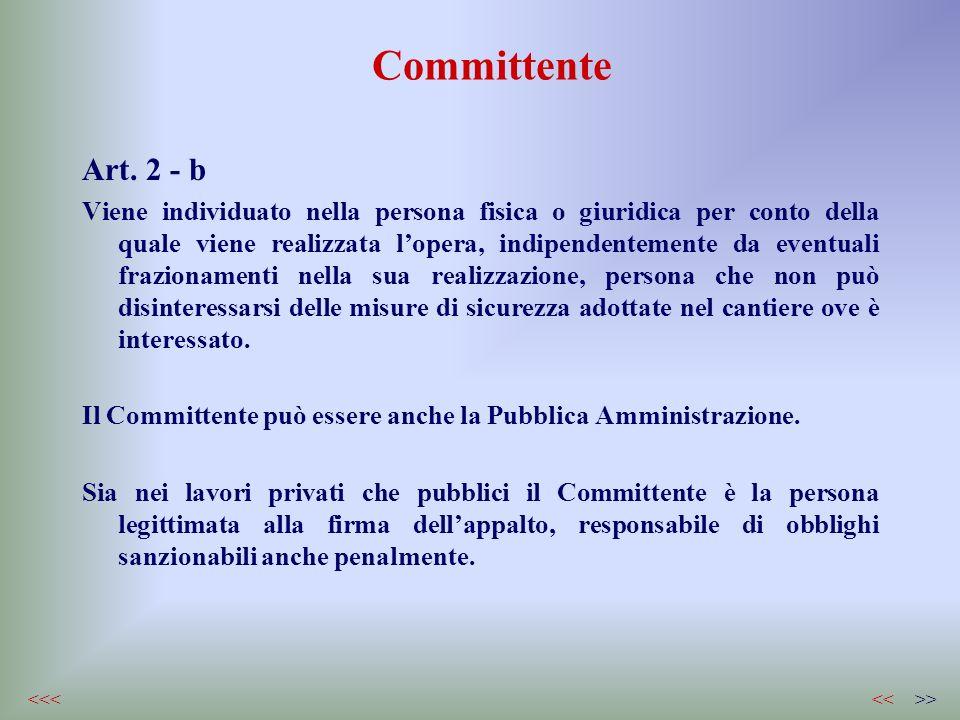 Committente Art. 2 - b Viene individuato nella persona fisica o giuridica per conto della quale viene realizzata lopera, indipendentemente da eventual