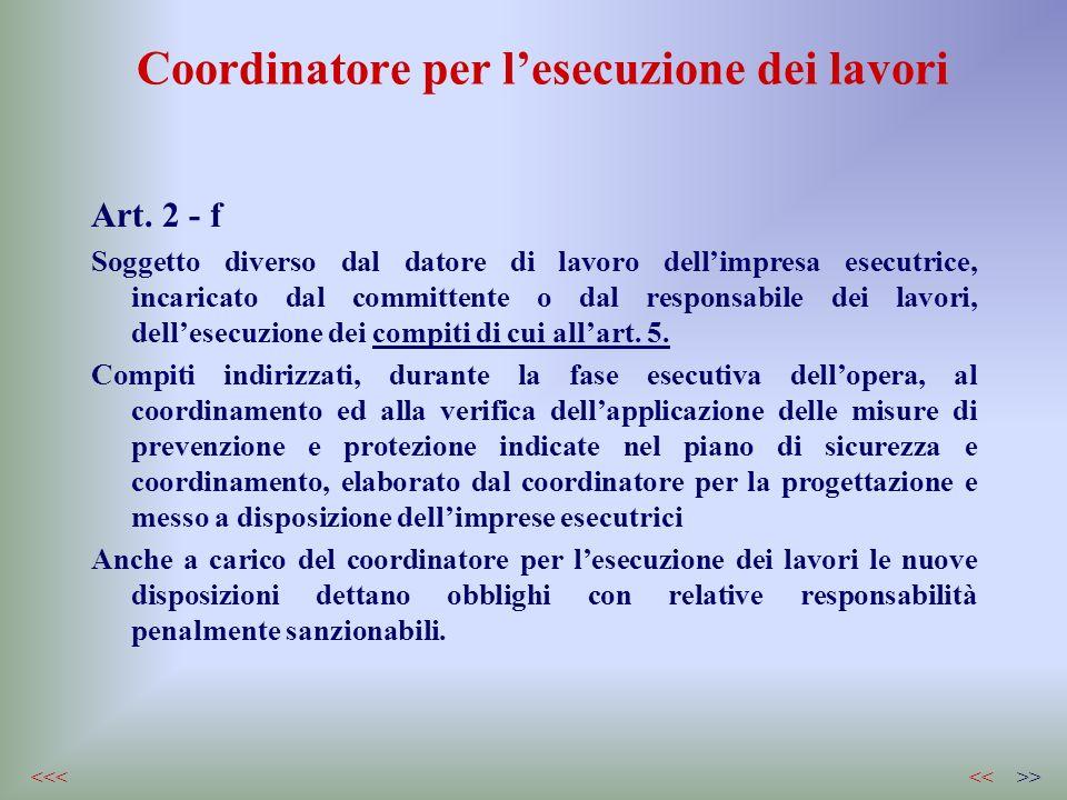 Coordinatore per lesecuzione dei lavori Art. 2 - f Soggetto diverso dal datore di lavoro dellimpresa esecutrice, incaricato dal committente o dal resp