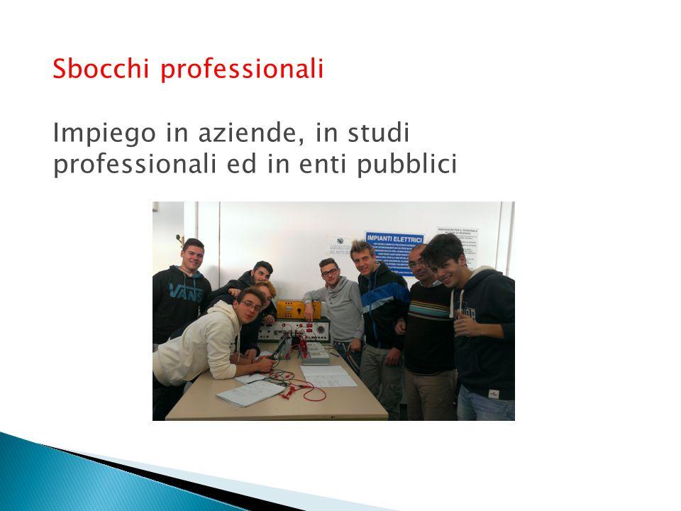 Sbocchi professionali Impiego in aziende, in studi professionali ed in enti pubblici