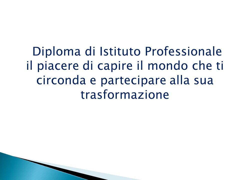 Diploma di Istituto Professionale il piacere di capire il mondo che ti circonda e partecipare alla sua trasformazione