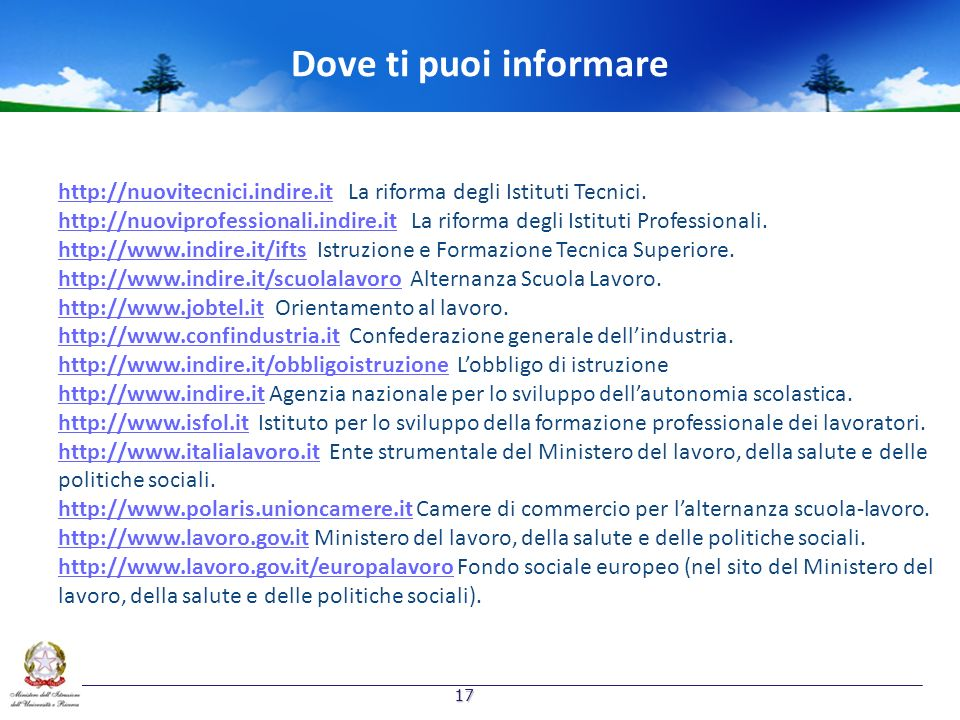 Dove ti puoi informare http://nuovitecnici.indire.ithttp://nuovitecnici.indire.it La riforma degli Istituti Tecnici. http://nuoviprofessionali.indire.