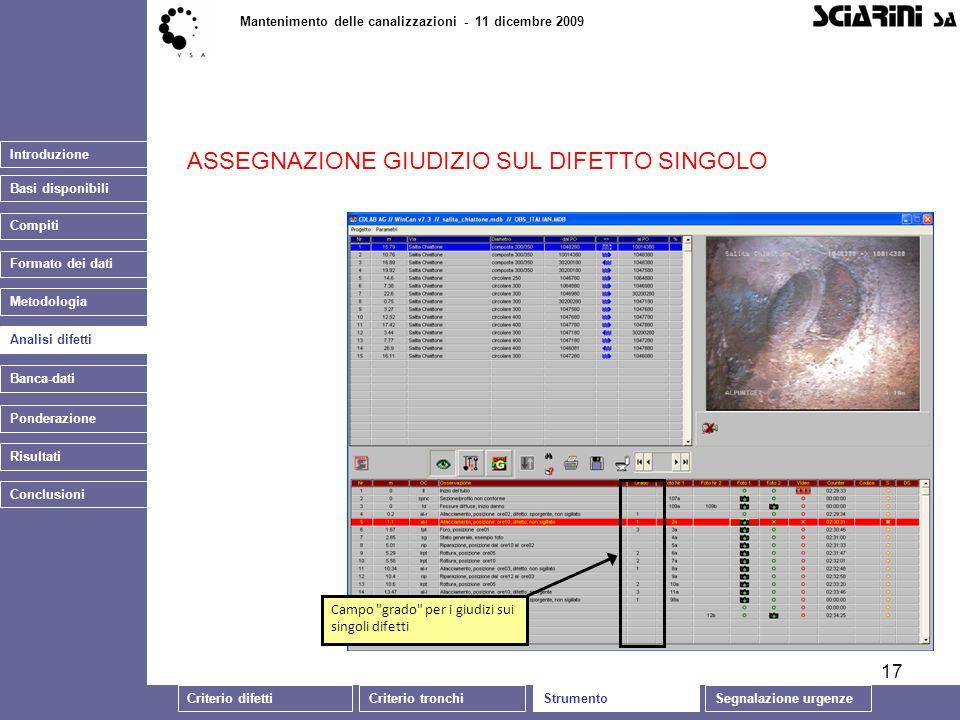 17 Introduzione Basi disponibili Mantenimento delle canalizzazioni - 11 dicembre 2009 Analisi difetti Banca-dati ASSEGNAZIONE GIUDIZIO SUL DIFETTO SIN