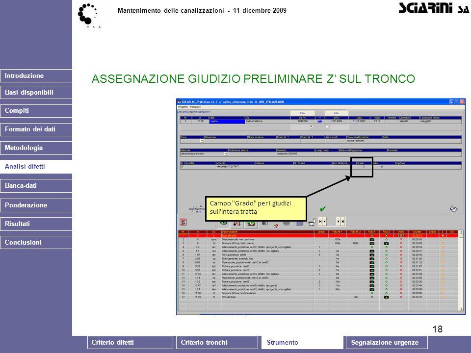 18 Introduzione Mantenimento delle canalizzazioni - 11 dicembre 2009 Analisi difetti Banca-dati Ponderazione Conclusioni Risultati Campo