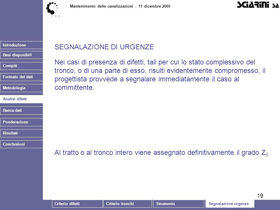19 Introduzione Basi disponibili Mantenimento delle canalizzazioni - 11 dicembre 2009 Analisi difetti Banca-dati SEGNALAZIONE DI URGENZE Ponderazione