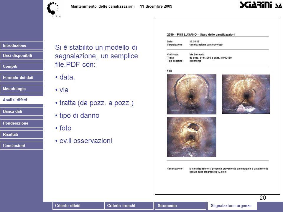 20 Introduzione Basi disponibili Mantenimento delle canalizzazioni - 11 dicembre 2009 Analisi difetti Banca-dati Si è stabilito un modello di segnalazione, un semplice file.PDF con: data, via tratta (da pozz.
