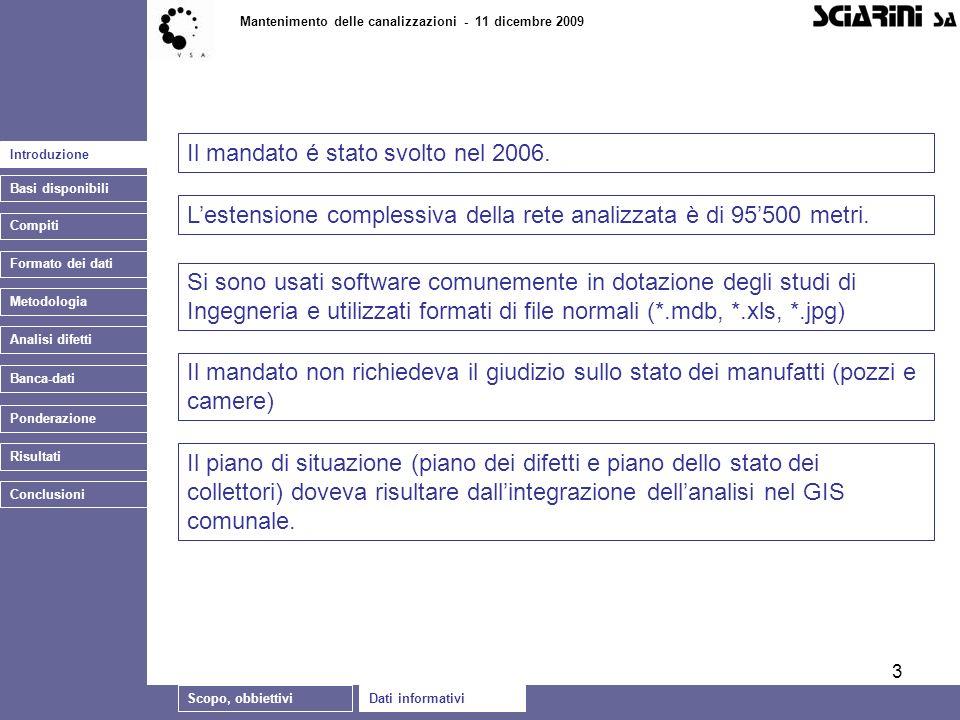 3 Introduzione Basi disponibili Compiti Formato dei dati Mantenimento delle canalizzazioni - 11 dicembre 2009 Banca-dati Il mandato é stato svolto nel