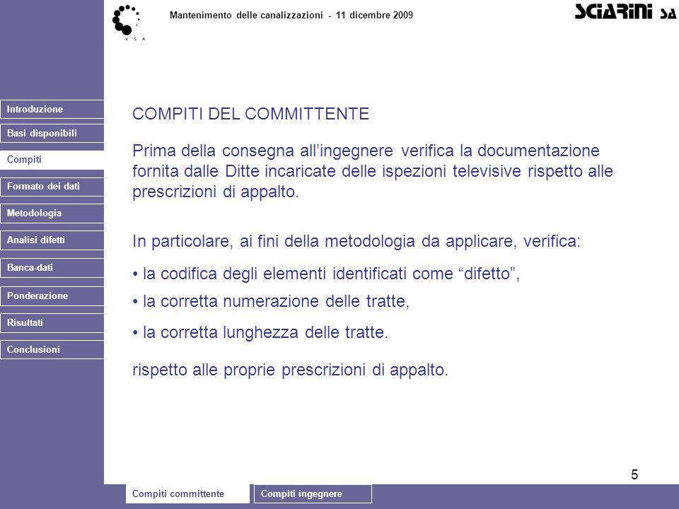 5 Introduzione Basi disponibili Compiti committenteCompiti ingegnere Mantenimento delle canalizzazioni - 11 dicembre 2009 Compiti Banca-dati COMPITI D