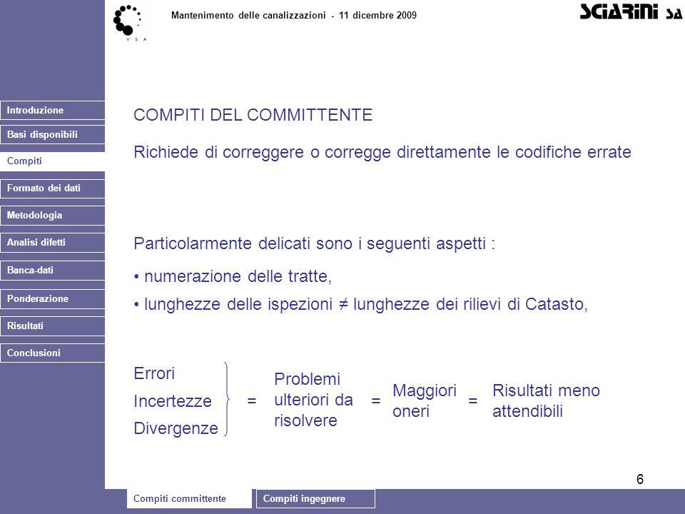 6 Introduzione Basi disponibili Compiti committenteCompiti ingegnere Mantenimento delle canalizzazioni - 11 dicembre 2009 Banca-dati COMPITI DEL COMMI