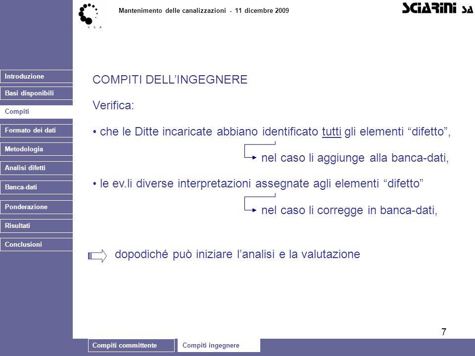 7 Introduzione Basi disponibili Compiti committenteCompiti ingegnere Mantenimento delle canalizzazioni - 11 dicembre 2009 Metodologia Banca-dati COMPI