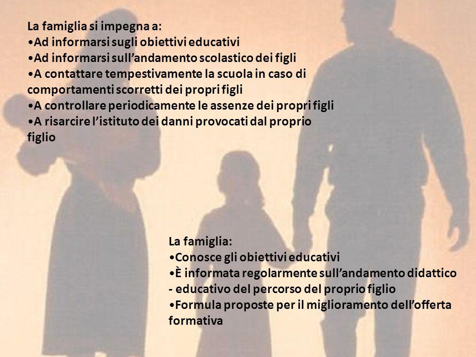 La famiglia si impegna a: Ad informarsi sugli obiettivi educativi Ad informarsi sullandamento scolastico dei figli A contattare tempestivamente la scu