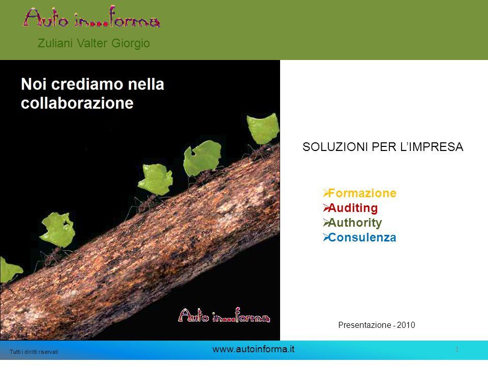 1 Tutti i diritti riservati www.autoinforma.it SOLUZIONI PER LIMPRESA Zuliani Valter Giorgio Presentazione - 2010 Formazione Auditing Authority Consulenza