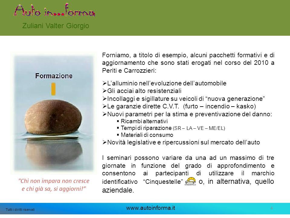 4 Tutti i diritti riservati www.autoinforma.it Zuliani Valter Giorgio Forniamo, a titolo di esempio, alcuni pacchetti formativi e di aggiornamento che