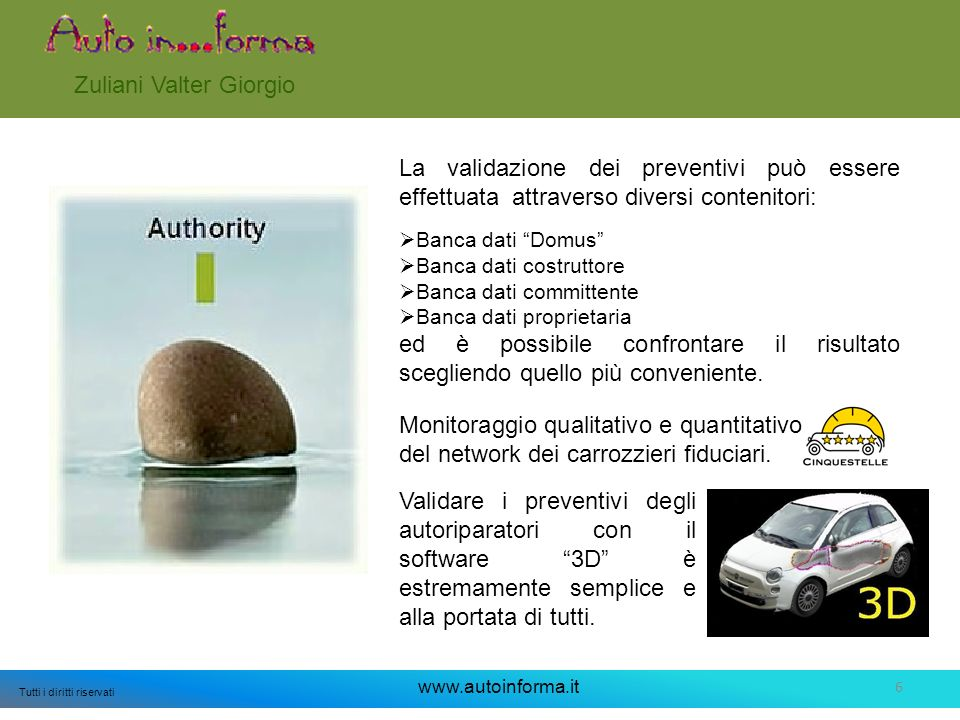 6 Tutti i diritti riservati www.autoinforma.it Zuliani Valter Giorgio La validazione dei preventivi può essere effettuata attraverso diversi contenito
