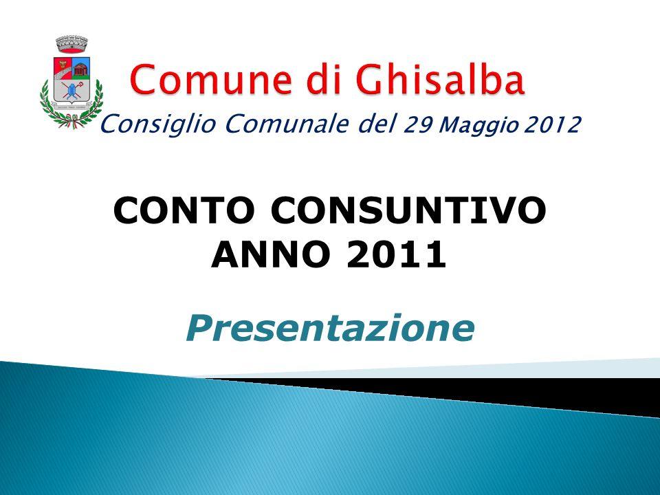 CONTO CONSUNTIVO ANNO 2011 Presentazione Consiglio Comunale del 29 Maggio 2012
