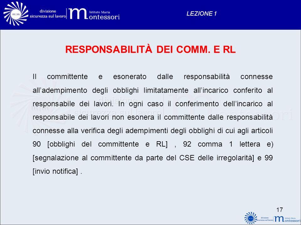 17 LEZIONE 1 RESPONSABILITÀ DEI COMM. E RL Il committente e esonerato dalle responsabilità connesse alladempimento degli obblighi limitatamente allinc
