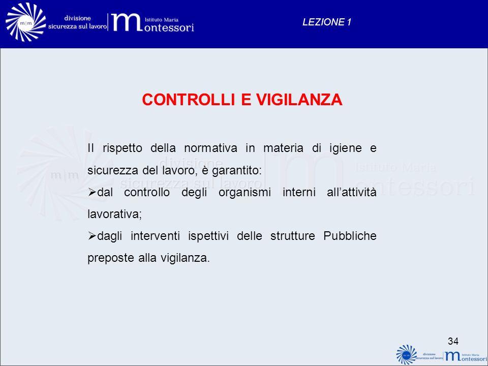 34 LEZIONE 1 CONTROLLI E VIGILANZA II rispetto della normativa in materia di igiene e sicurezza del lavoro, è garantito: dal controllo degli organismi